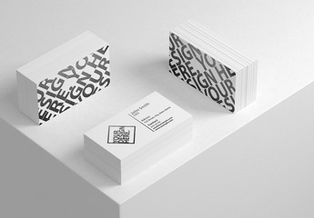 3 Stacks of Business Cards on White Table Mockup