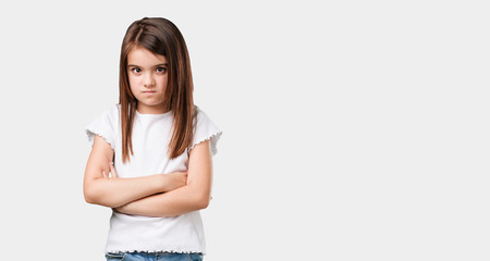 Full body little girl very angry and upset, very tense, screaming furious, negative and crazy