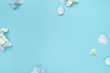 Hydrangea Flower background floral flat lay