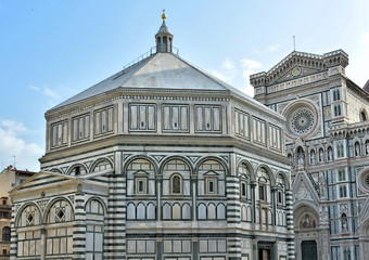 Awesome Florence Cathedral and the Baptistery, which is one of the oldest buildings in Florence. Iconic octagonal basilica with striking marble facade, known for its mosaic ceiling. Italy, Florence
