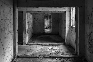 Old abandoned prison hall