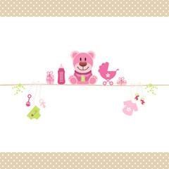 Teddy & Baby Symbols Girl Retro Dots