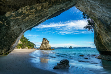 view from the cave at cathedral cove,coromandel,new zealand 38