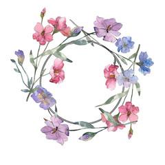 Pink and purple flax floral botanical flower. Watercolor background illustration set. Frame border ornament square.