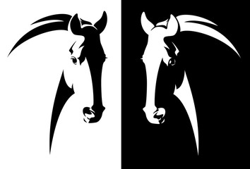 Fototapeta horse head black and white simple vector outline - monochrome equine emblem design