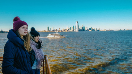 Ferry ride over the Hudson River in New York on a beautiful sunny day