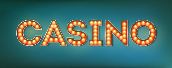 Illuminated street sign in the vintage style. 3d vector illustration on casino theme with lighting bulbs and design of text on grunge blue background. Template for posters, cover, leaflets.