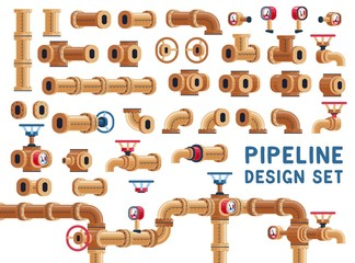 Set for pipeline design. Pipes and valves. Vector illustration.
