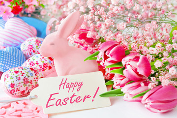 Happy Easter label and decoration