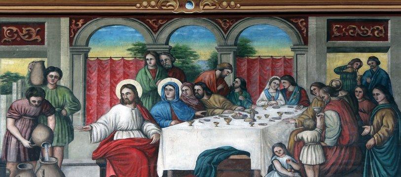 The Wedding at Cana, fresco in the church of Saint Matthew in Stitar, Croatia