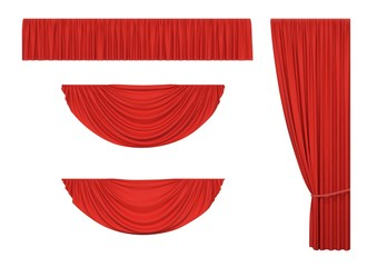 Set of red curtains and pelmet drapery