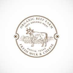 Beef and Milk Farm Framed Retro Badge or Logo Template. Hand Drawn Cow and Farm Landscape Sketch with Retro Typography. Vintage Sketch Emblem.