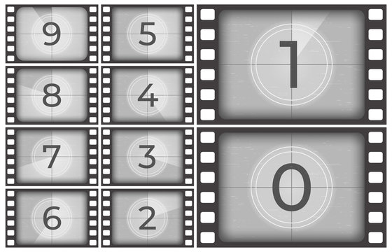 Cinema film countdown. Old movie films strip frame, vintage intro screen counting numbers or retro timer frames vector illustration