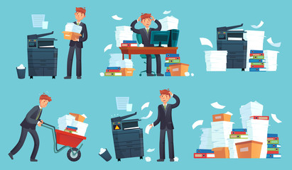 Office documents copier. Printed business papers, businessman broke printer and documents copy machine cartoon vector illustration