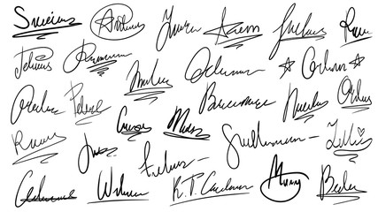 Handwritten signature. Manual signatures, manuscript sign for documents and hand drawn autograph lettering isolated vector set