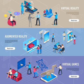 Isometric people in vr. Portable virtual reality simulation headset banners. Vector illustration collection