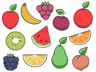 Simple fruit vector icon collection with strawberry, apple, pear, lemon, peach, kiwi, banana, raspberry, cherry, orange and blackberry