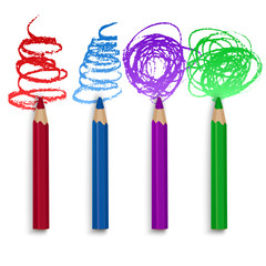 Realistic Set of Colorful Pencils, Crayons with Brush Strokes Background, Back to School art. Vector Illustration