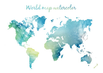 Poster World Map Watercolor world map in vector on wight background. Illustration in vector