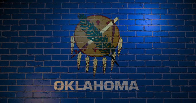 Oklahoma flag in the wind . 3d illustration