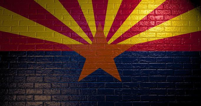 Arizona flag painted on the brick wall . 3d illustration