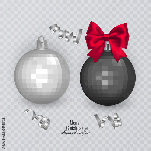 Black Christmas Balls.Realistic Black And White Christmas Balls With Red Bow On