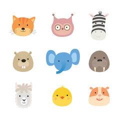Faces of cute animals. Elephant, hamster, Zebra, cat, chicken, beaver, owl, llama, walrus.