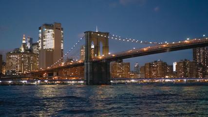 Beautiful Brooklyn Bridge New York at night