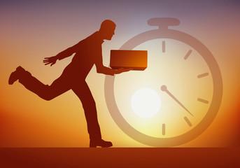 Concept de la livraison express, avec un chronomètre en arrière plan et un livreur courant avec un paquet à livrer rapidement