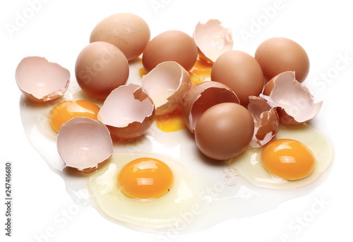 Broken Egg Isolated On White Background Stock Photo And