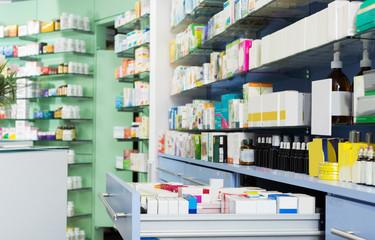 Medicines on shelves in pharmacy
