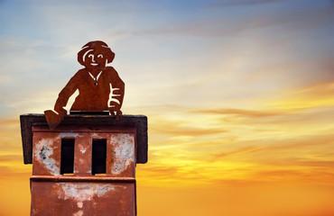 Chimney sweep, rooftop, sky, silhouette, copyspace
