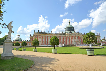 View of the New palace in summer day. Park of San Sushi, Potsdam. Germany