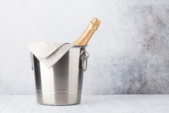 Champagne bottle in bucket