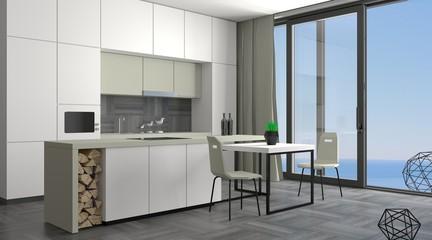 Modern  kitchen with window