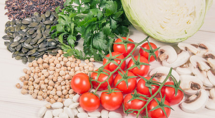 Food ingredients containing a large amount of zinc. Healthy diet.