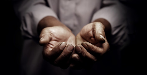 working hands of old man