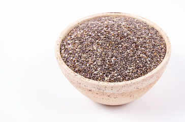 Chia seeds isolated on white background. A component of a healthy diet.