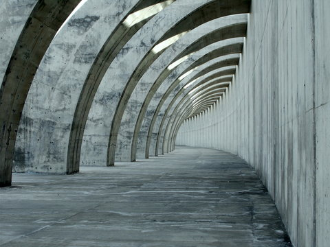 Modern Flying Buttress with concrete wall and arches a civil engineering construction