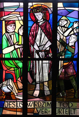 1st Stations of the Cross, Jesus is condemned to death, stained glass window in Saint Lawrence church in Kleinostheim, Germany