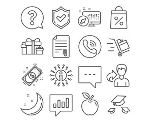Set of Holiday presents, Blog and Question mark icons. Attachment, Throw hats and Push cart signs. Payment, Shopping bag and Analytical chat symbols. Gift boxes, Chat message, Help support. Vector