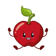 kawaii apple cartoon character