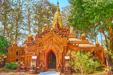 The small Ananda-style temple in Mahazedi Paya, Bago, Myanmar