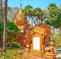 Small chinthe statues at Ananda-style Temple, Bago, Myanmar