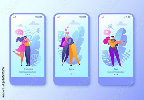Romantic vector illustration mobile app page, screen set  Happy flat
