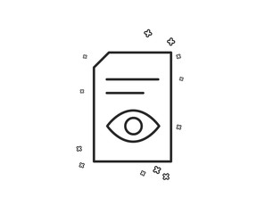 View Document line icon. Open Information File sign. Paper page with Eye concept symbol. Geometric shapes. Random cross elements. Linear View Document icon design. Vector