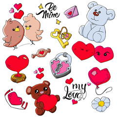 pattern of Valentine's Day theme doodle elements. Hand drawn and colored love symbols and hearts on white background