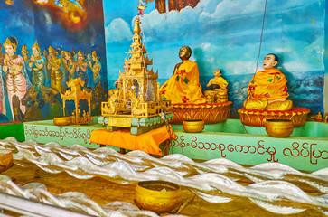 Image house with installations, Shwemawdaw Paya, Bago, Myanmar