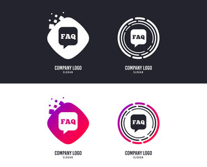 Logotype concept. FAQ information sign icon. Help speech bubble symbol. Logo design. Colorful buttons with icons. Vector