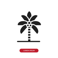 Filled Palm tree vector icon